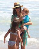 Jessica Alba played with her daughters in the ocean.