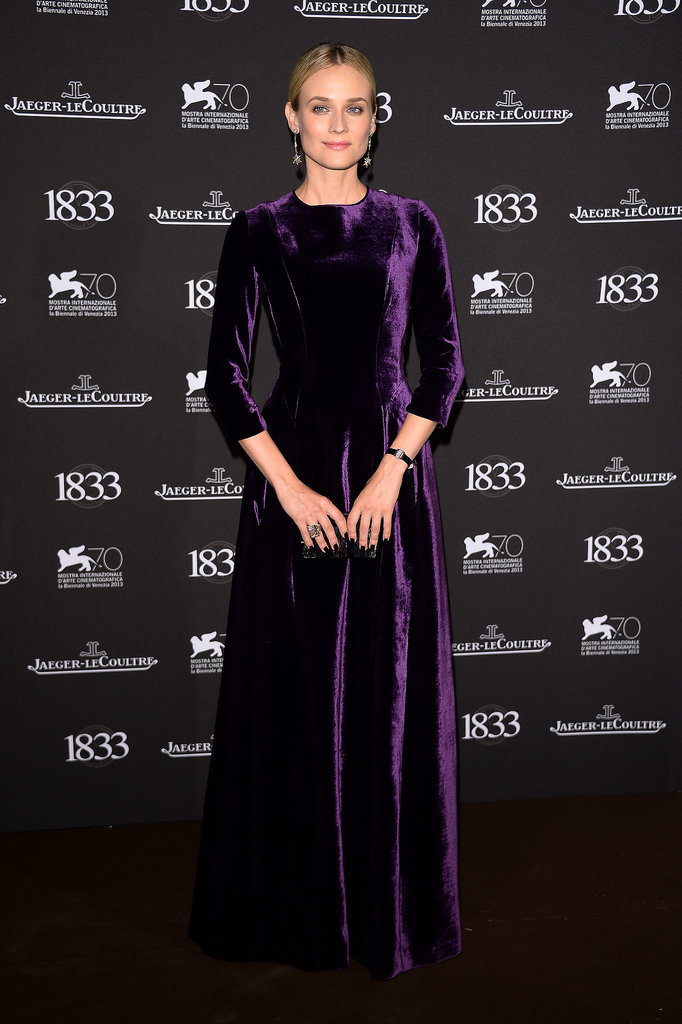Diane Kruger wore a regal, long-sleeved purple velvet gown from Alberta Ferretti's Fall 2013 collection at a dinner hosted by Jaeger-LeCoultre in Venice.
