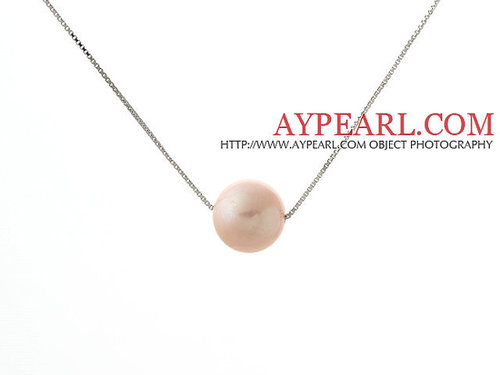 Classic Design Round 11mm Pink Freshwater Pearl Pendant Necklace with 925 Silver Plated Platinum Chain