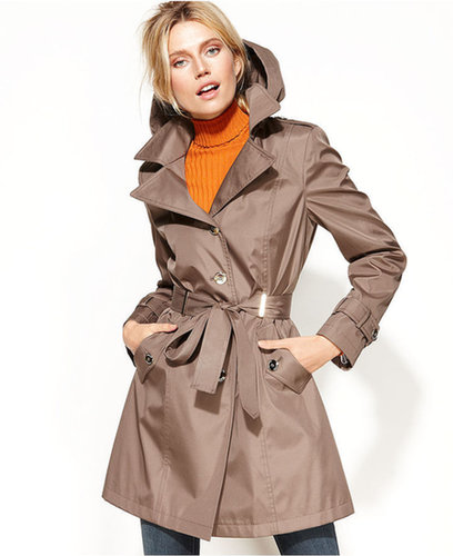 Calvin Klein Coat, Hooded Belted Trench