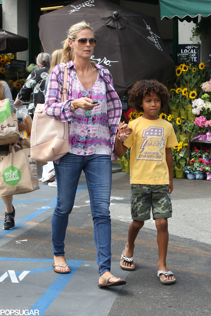 Heidi Klum and Johan Samuel went grocery shopping in LA on Saturday.