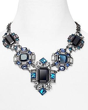 Aqua Blue Crystal Hematite Statement Necklace, 18
