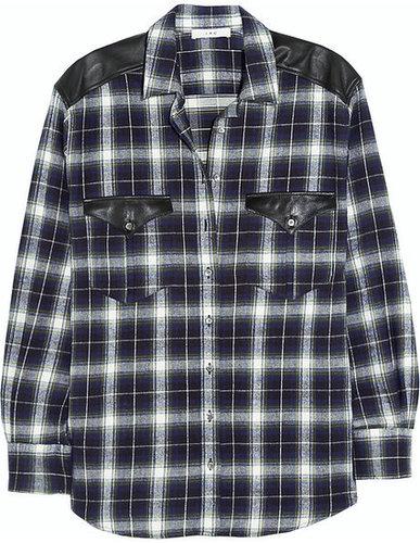 IRO Britton leather-paneled cotton-flannel shirt