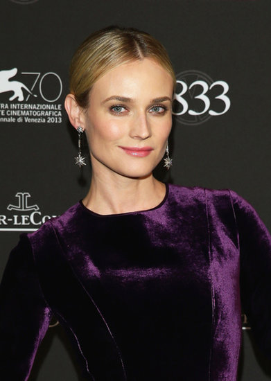 At the Jaeger-LeCoultre gala, Diane Kruger stepped out in a velvety plum gown, which she paired with chic chignon. She kept her makeup elegant with a taupe eye shadow and a glossy pink lip.