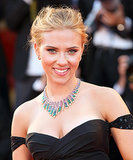 On the red carpet for the Under the Skin premiere, Scarlett Johansson went for a more glamourous look with a tousled updo and a sexy winged eyeliner look.