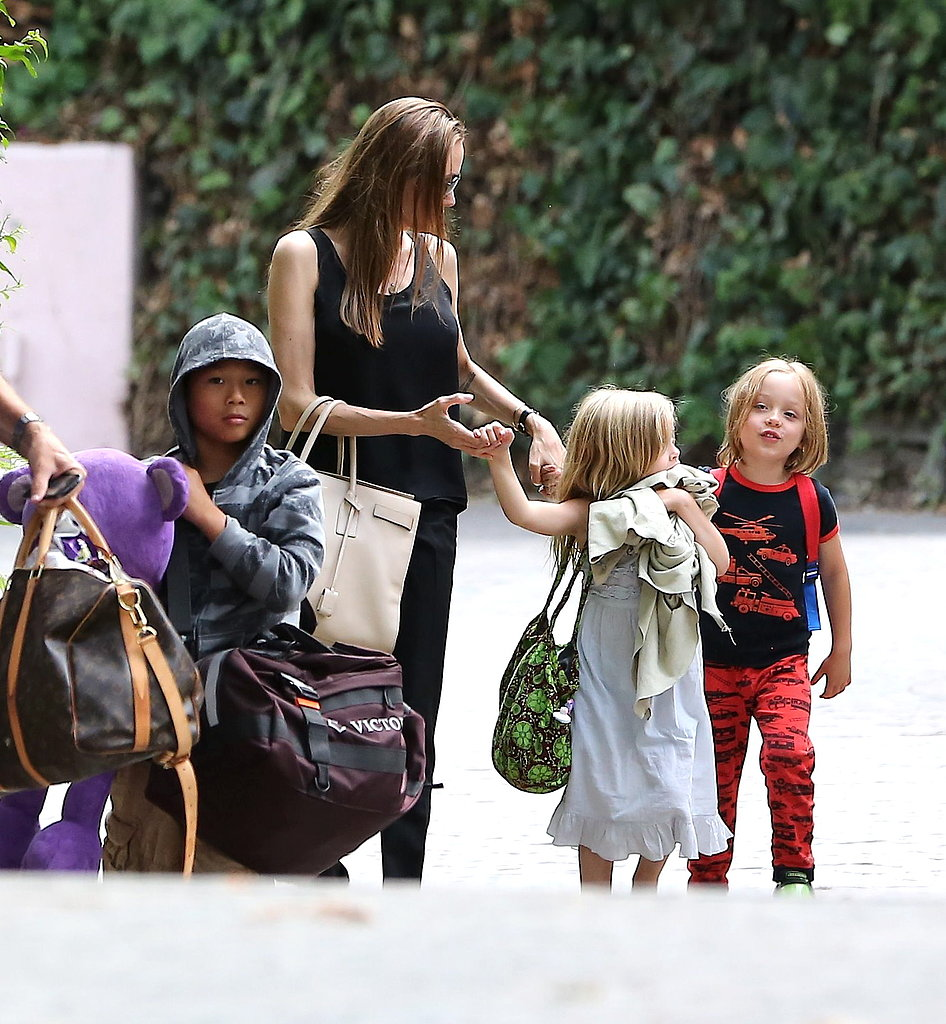 Angelina Jolie and her kids, Pax, Knox, and Vivienne, spent Labor Day in Santa Barbara.