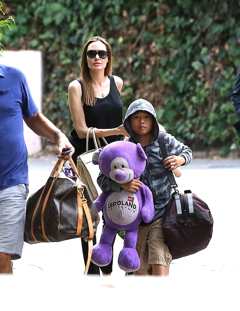 Angelina Jolie walked with Pax and the twins in Santa Barbara.