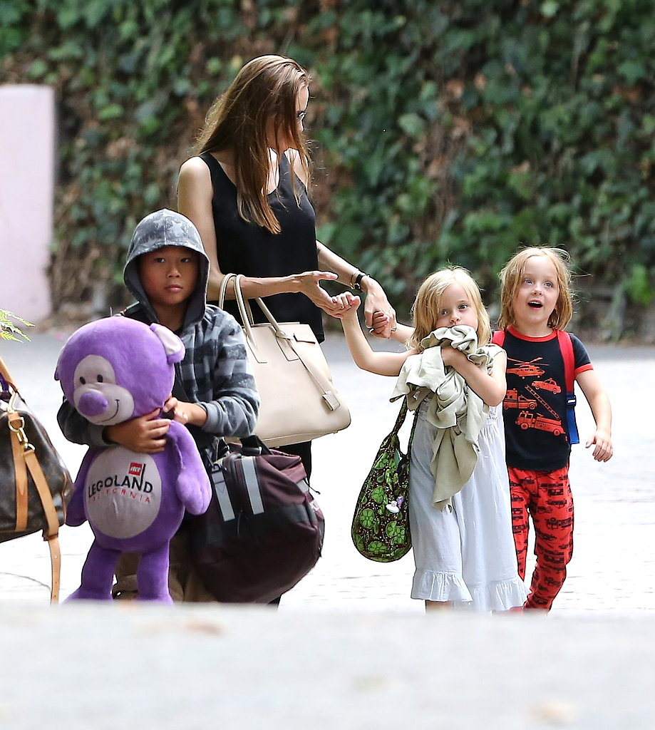 Angelina Jolie walked with Pax, Knox, and Vivienne through Santa Barbara.