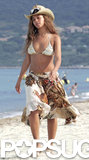 Beyoncé Knowles wore a cowgirl-inspired bikini ensemble for a walk on the St. Tropez beach during June 2005.