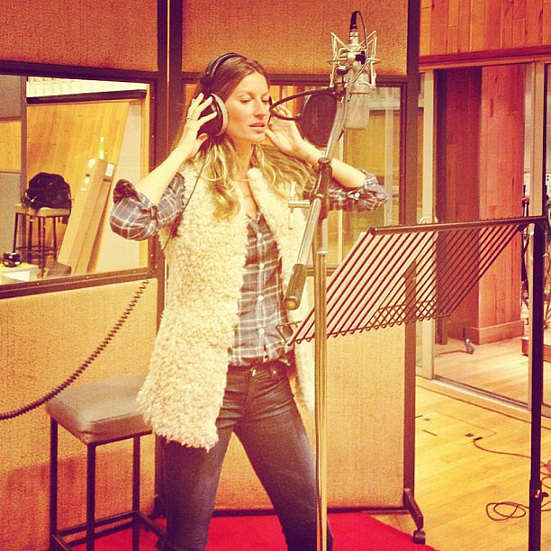"Gisele Bündchen hit the studio to record a song for charity — a cover of The Kinks' ""All Day and All of the Night."" Source: Instagram user giseleofficial"