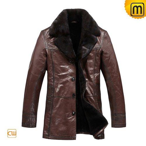 Mens Brown Fur Leather Coats CW819466—jackets.cwmalls.com