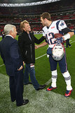 Jon Bon Jovi was greeted on the sidelines by Tom Brady as the New England Patriots took on the St. Louis Rams in February 2013.
