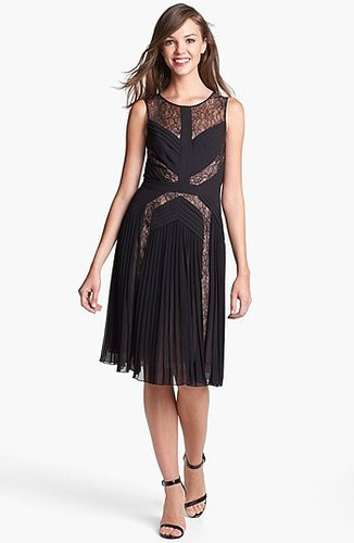 BCBGMAXAZRIA Lace Inset Fit & Flare Dress