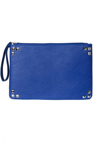 Yours Clothing Cobalt clutch bag with strap and stud corner detail