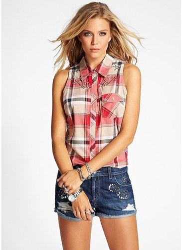 Embellished Rebel Twill Plaid Top in Red