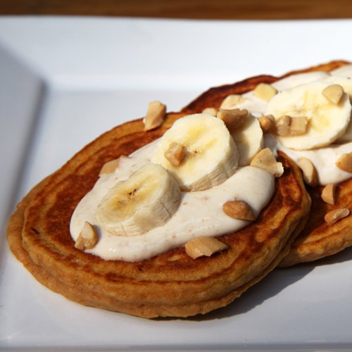 Banana Sweet Potato Pancakes With Honey Nut Yogurt