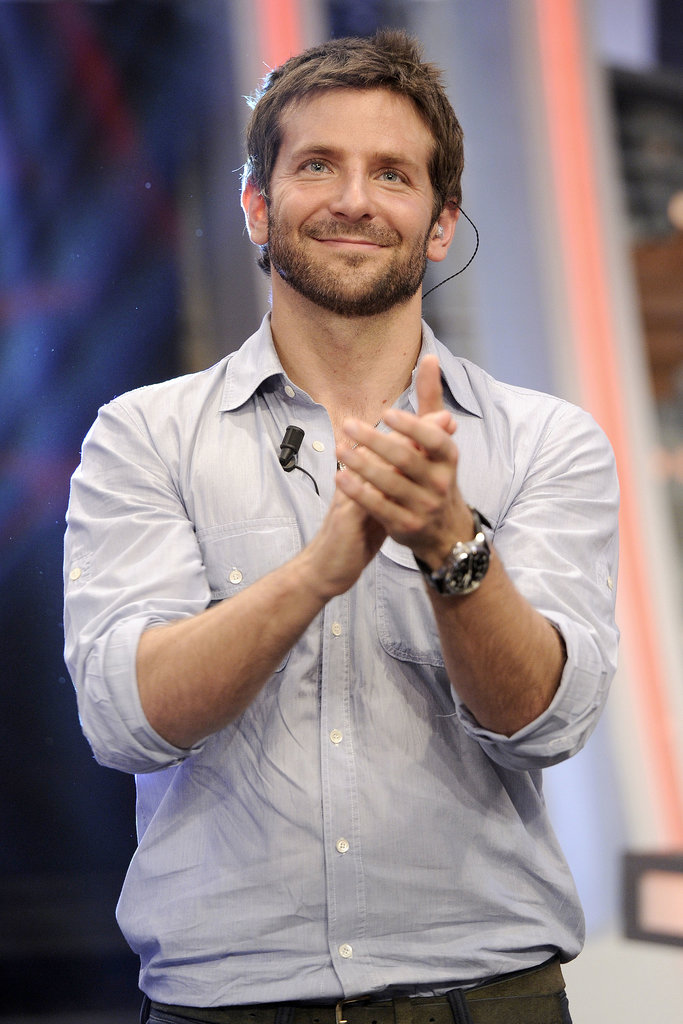 Bradley Cooper looked handsome and casual during his guest appearance on TV in Madrid.