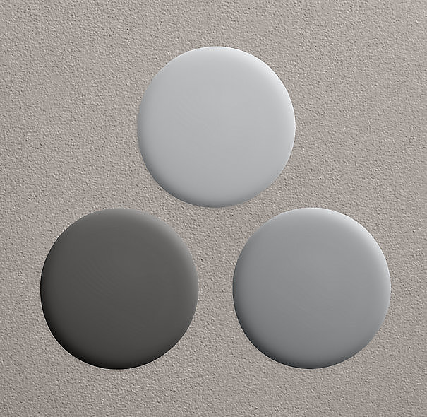 Three no-fail (and no-VOC!) gray paint colors ($6-$44). How dark will you go? Clockwise from top: gravel, charcoal, and flint.