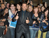 Hugh Jackman stopped to greet adoring fans.