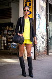 An Alexander Wang Rocco bag and knee-high boots were unexpected ways to polish off citron separates.