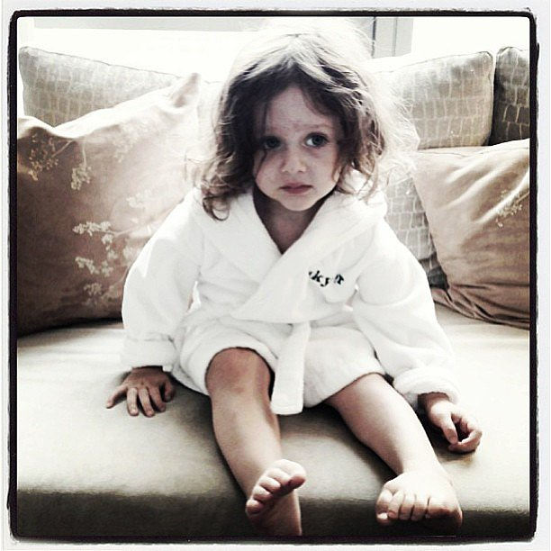 Skyler Berman looked ready to lounge in his personalized bathrobe. Source: Instagram user rachelzoe