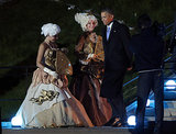 Obama walked past actresses dressed in aristocratic costumes ahead of a G20 banquet.