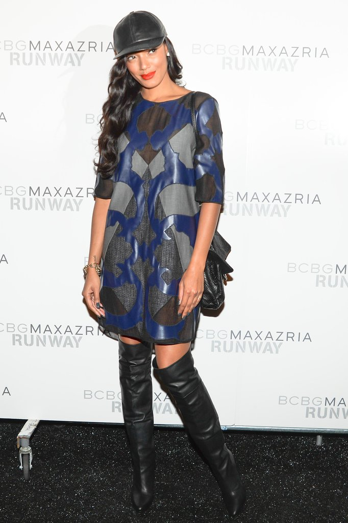 Selita Ebanks topped her look with a sporty cap before attending the BCBG Max Azria show.