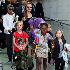 Angelina Jolie and Kids Arrive at Sydney Airport Pictures