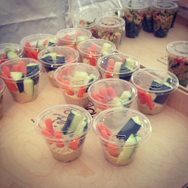 Hummus, carrots, and cucumbers were on the menu for models at Monique Lhuillier.