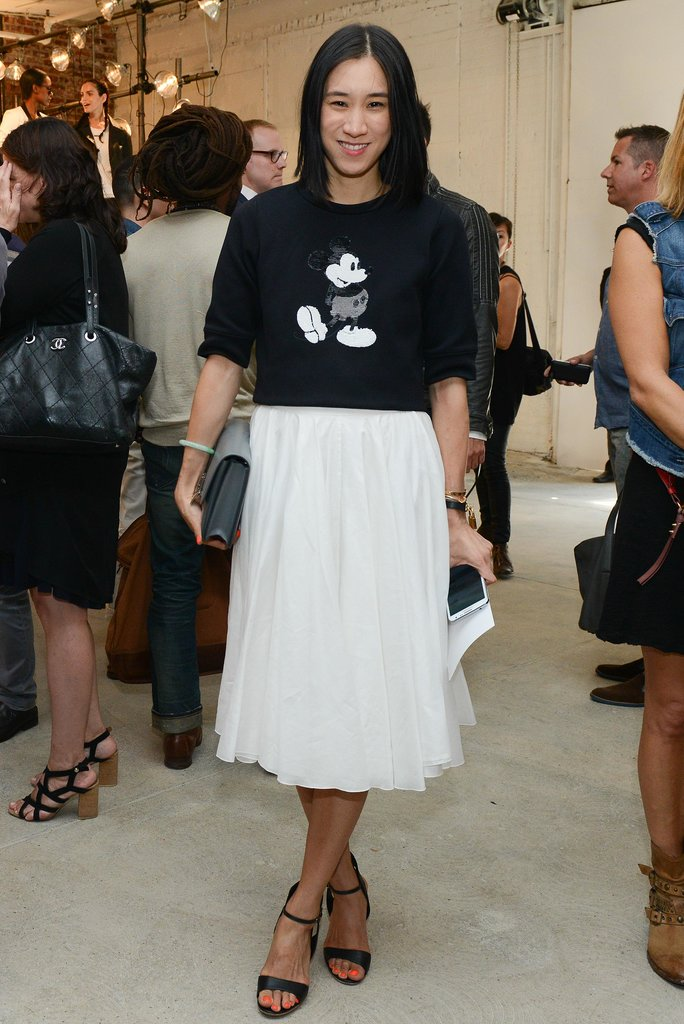 Eva Chen got cartoonish in a Mickey Mouse tee at Kenneth Cole's Spring presentation.