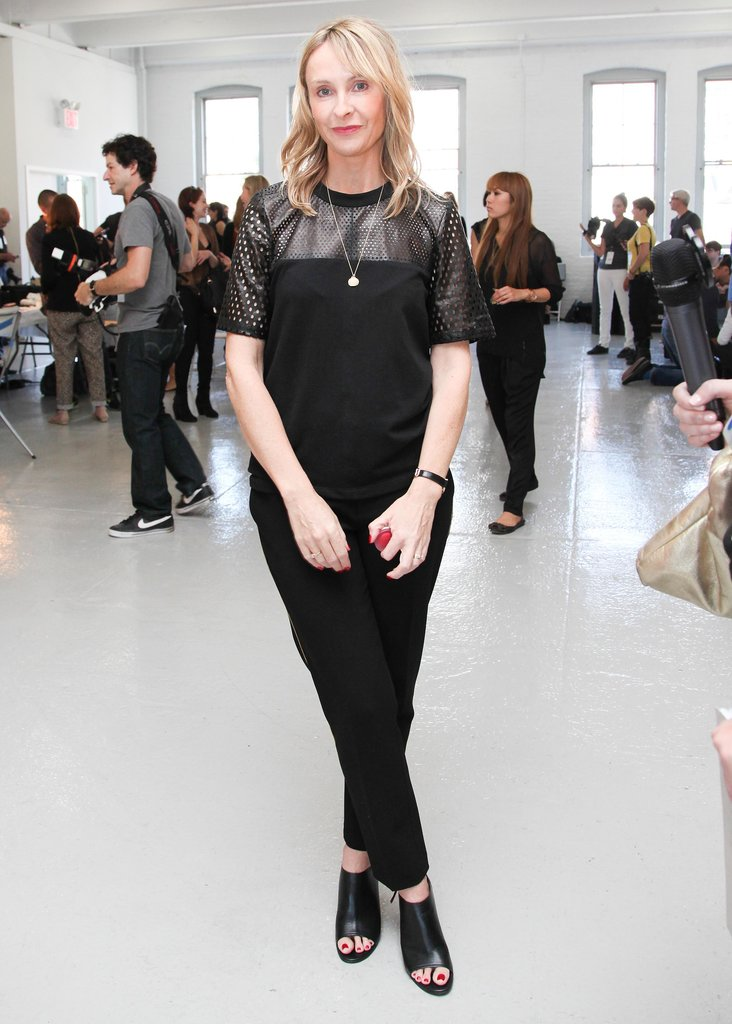 Rebecca Taylor greeted guests at her runway show.