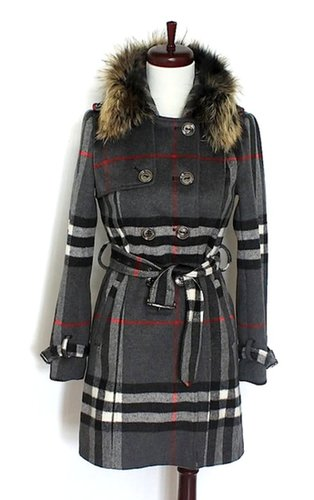 Reversible Fox Fur Collar Trench Coat