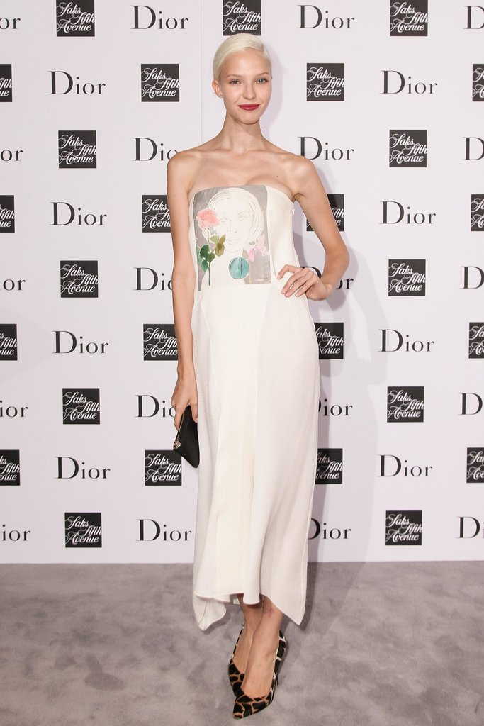Sasha Luss showed her flower power in Dior at Saks.