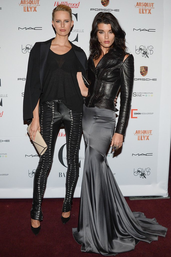 Black leather-clad ladies Karolína Kurková and Crystal Renn hit the Mademoiselle C premiere.