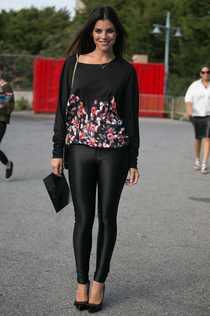Julia Restoin Roitfeld made all black pop with a wash of florals on her top.