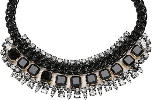 Juicy Couture - Glam Punk Couture Rhinestone Drama Necklace (Gold) - Jewelry