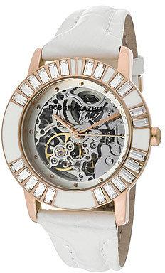 BCBG Women's Enchante Automatic Skeletonized See-Thru Silver Dial White Genuine Leather