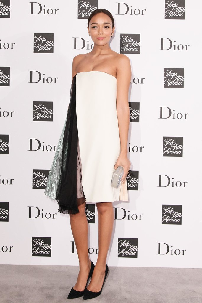 Ashley Madekwe in White and Pink Strapless Dior Dress