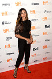 Camila Alves balanced a pretty black lace top with sexy strappy sandals at the Dallas Buyers Club premiere.