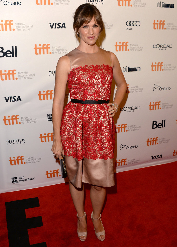 Jennifer Garner polished up in a red lace Dolce & Gabbana dress with nude detailing and Brian Atwood pumps at the Dallas Buyers Club premiere.