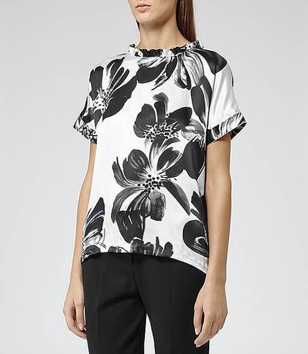 Eleana PRINTED TOP WITH FRILL COLLAR BLACK/WHITE