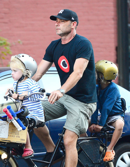 Liev Schreiber went bike riding in NYC with his sons, Sasha and Samuel, on Sunday.