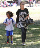 Heidi Klum played the part of a soccer mom for her son Johan in LA.