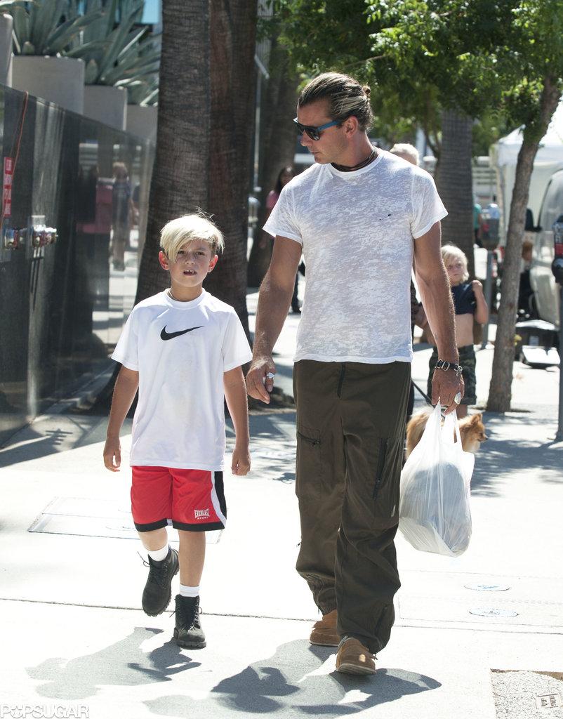 Gavin Rossdale took his son Kingston to the farmers market in LA.