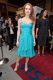 Jessica Chastain brightened up the red carpet at The Disappearance of Eleanor Rigby in a turquoise Versace number and Irene Neuwirth Aquamarine  earrings.