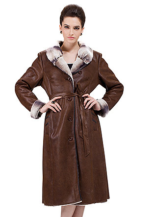 Modern Paris Series/brown suede with faux chinchilla fur/long suede coat - New Products