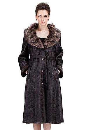 Modern Paris Series/dark coffee suede with faux dark brown mink fur collar/long suede coat - New Products