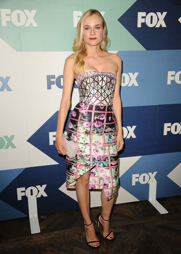 Diane Kruger opted for a hatch-detail Mary Katrantzou strapless dress at a 2013 TCA party.