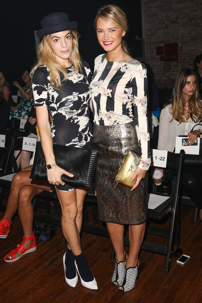 Chelsea Leyland and Kyleigh Kuhn each opted for graphic black and white while sitting front row at Yigal Azrouël.