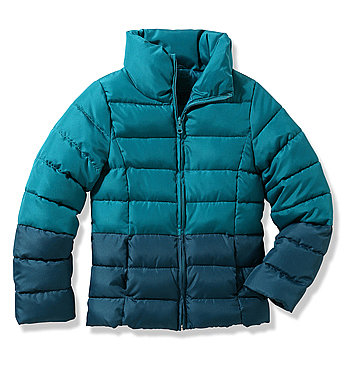 Ombré is still alive and well at Joe Fresh, where this colorblock puffer ($29) comes in blue and red hues.